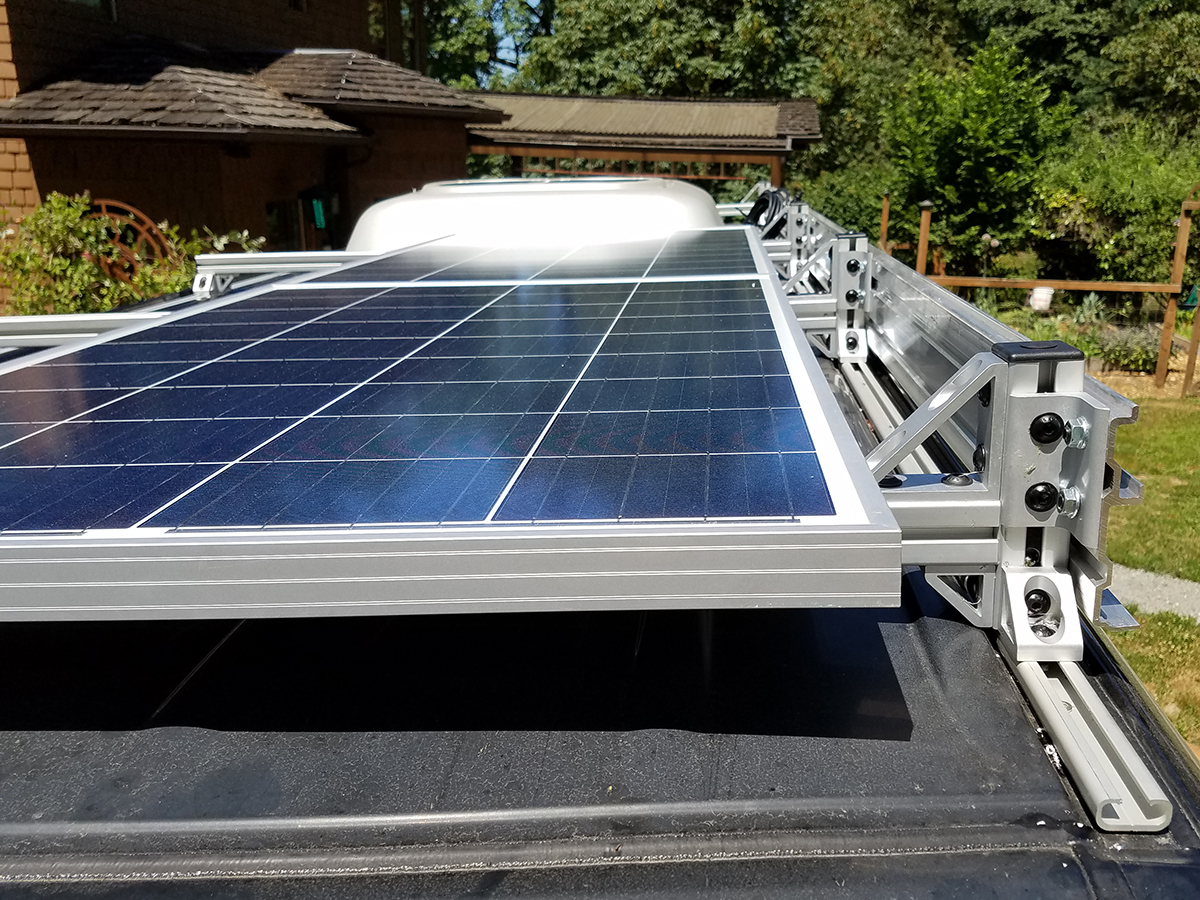 Sprinter van custom roof rack with solar panel