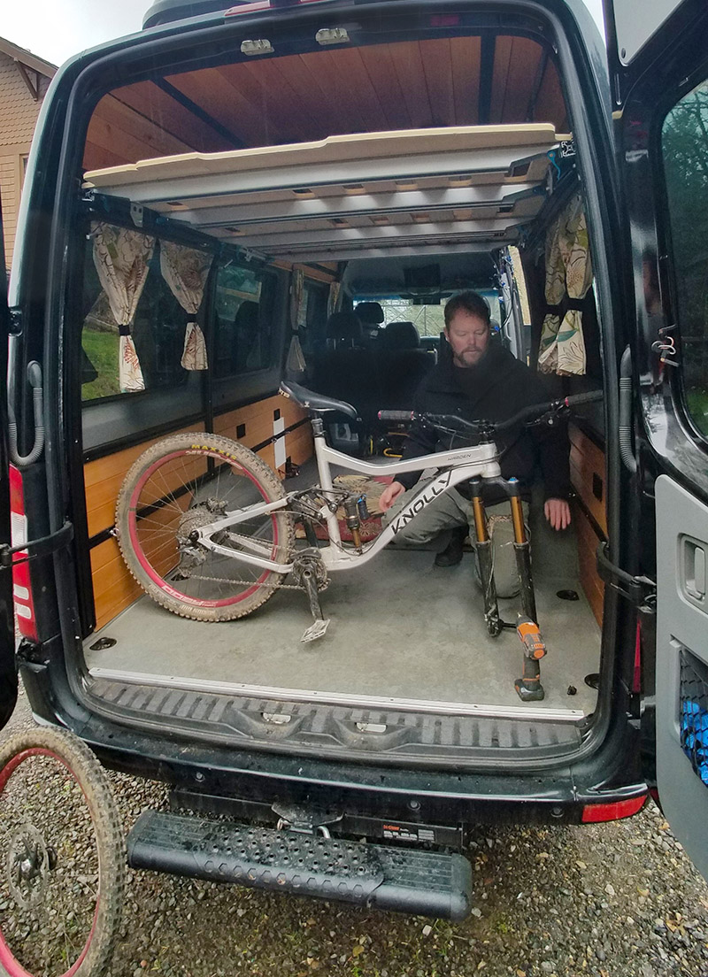 Ed has ample room to maneuver in the back of our converted Sprinter van
