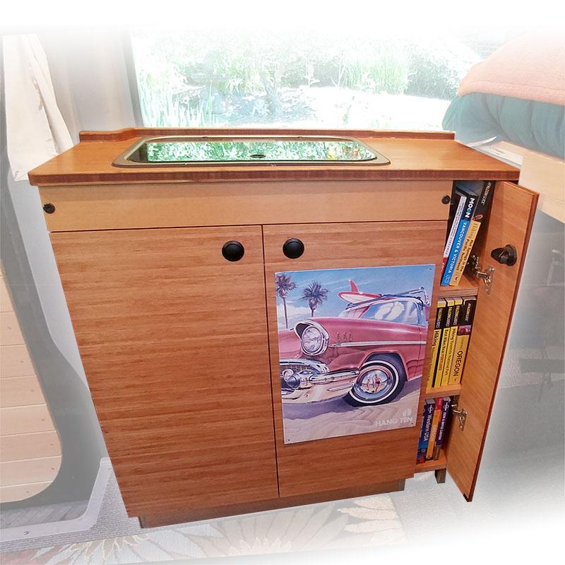 Sprinter conversion kitchen cabinets optimized for excellent storage