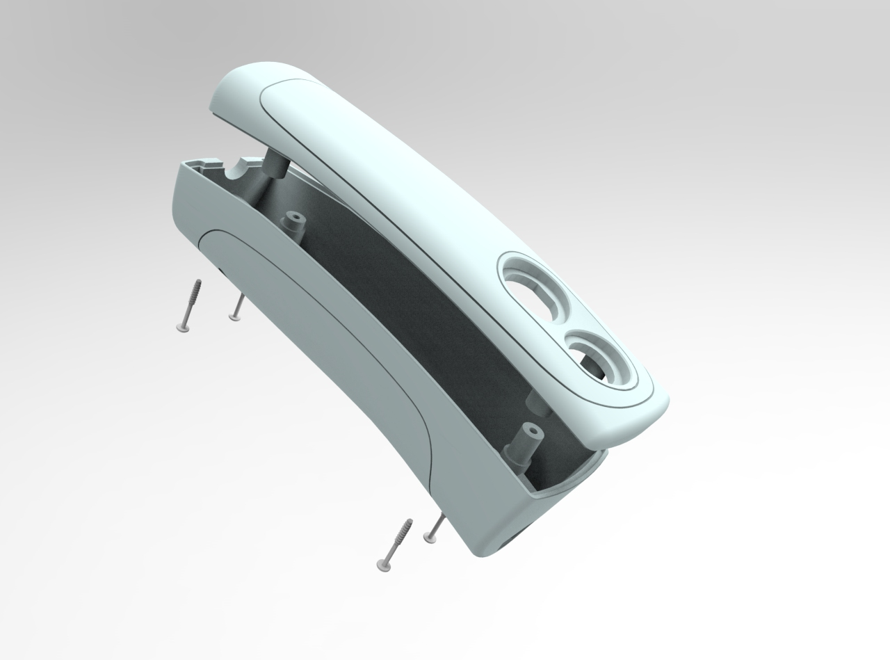 SolidWorks Designer CAD rendering hand unit, show simple assembly and manufacture