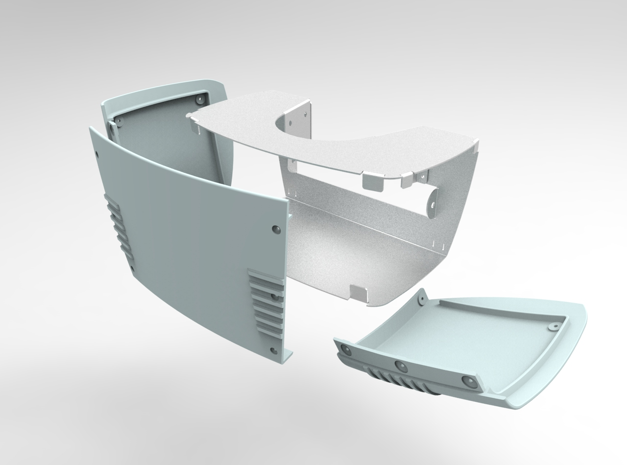 SolidWorks CAD rendering assembly - complicated rendered simply